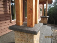 Exposed aggregate on porch railing